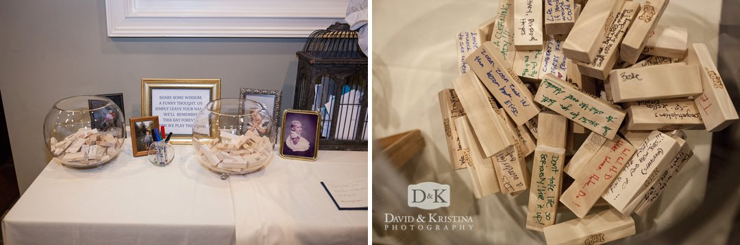 guests write notes on Jenga pieces