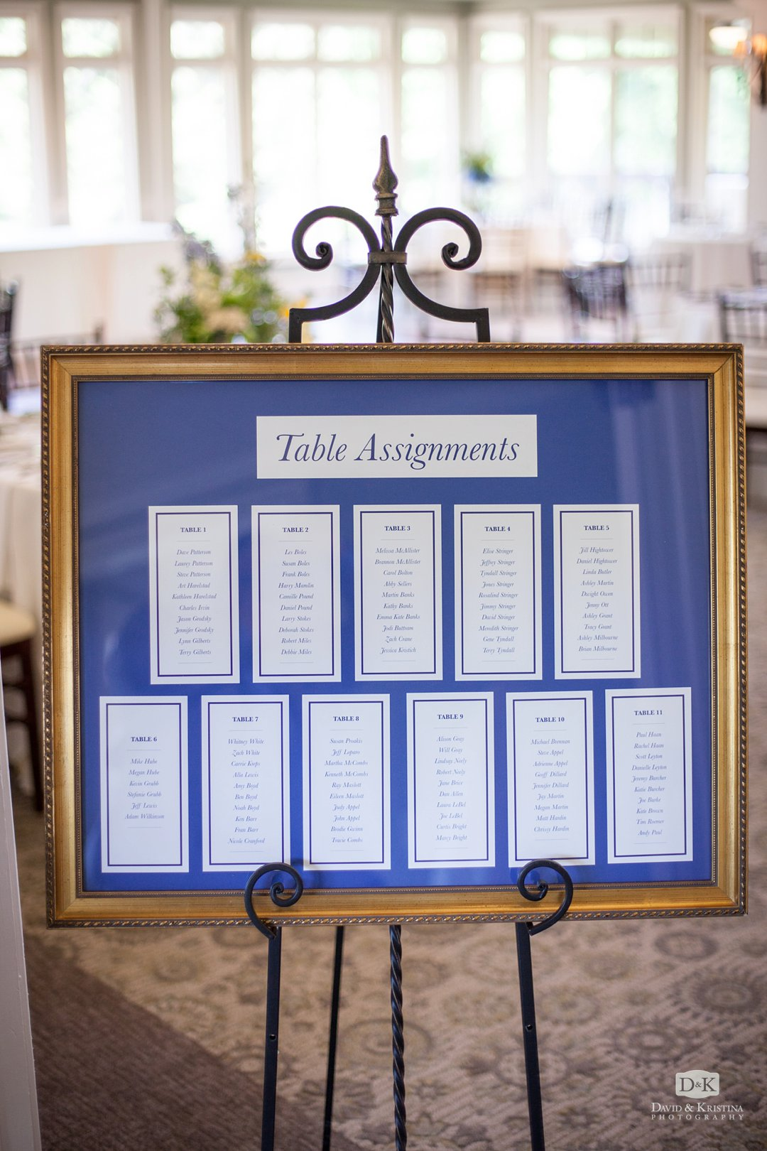 framed and matted table assignments display