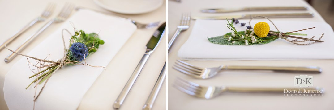 floral designs at place settings