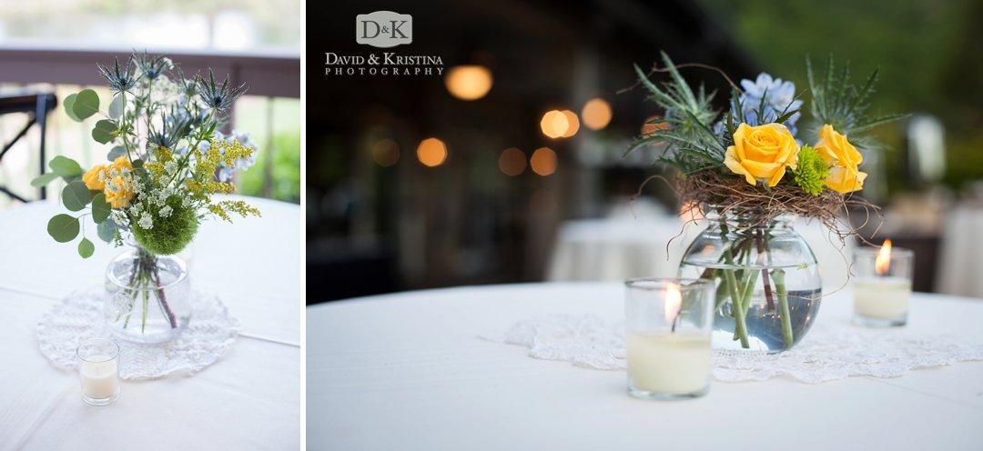 floral arrangements on cocktail tables