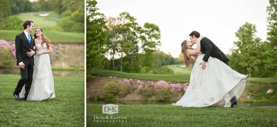bride and groom Cliffs at Glassy golf course