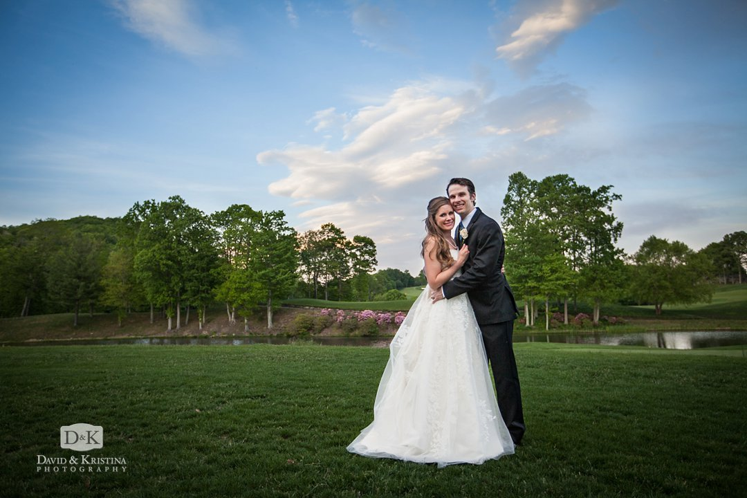 bride and groom at sunset after wedding at Cliffs at Glassy