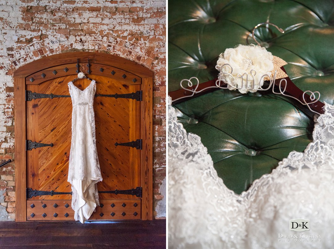wedding dress hanging in doorway at Old Cigar Warehouse