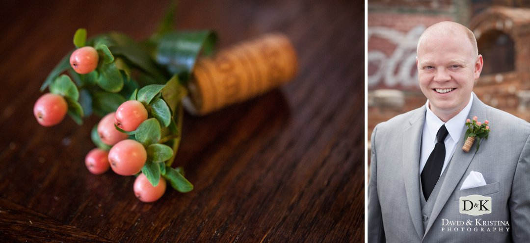 groom's boutonniere made with wine bottle cork