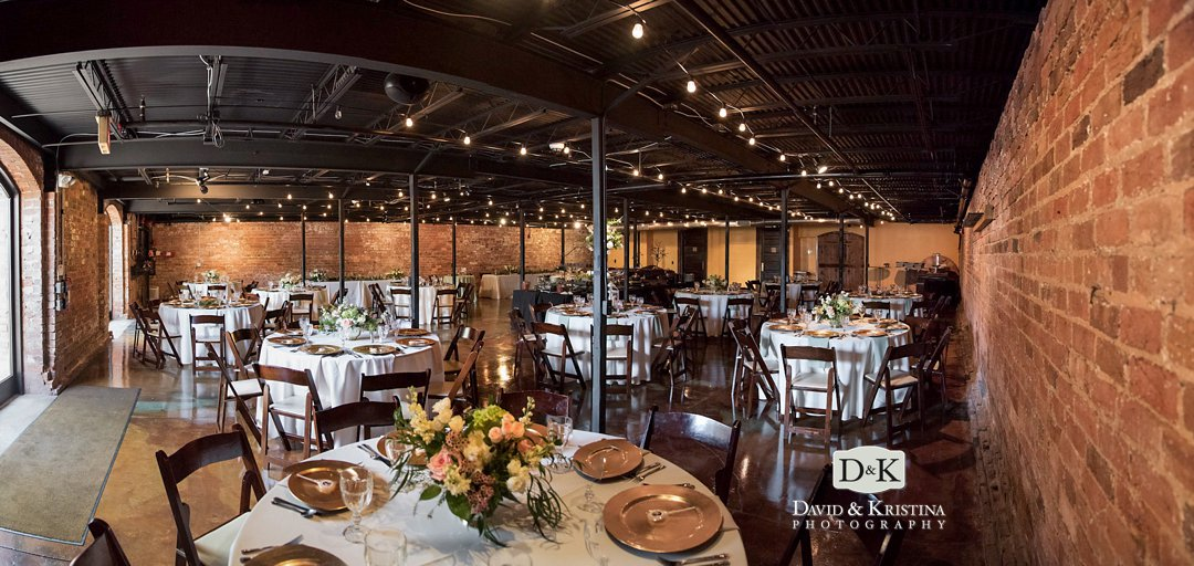 The Old Cigar Warehouse cellar room set for dinner at wedding reception