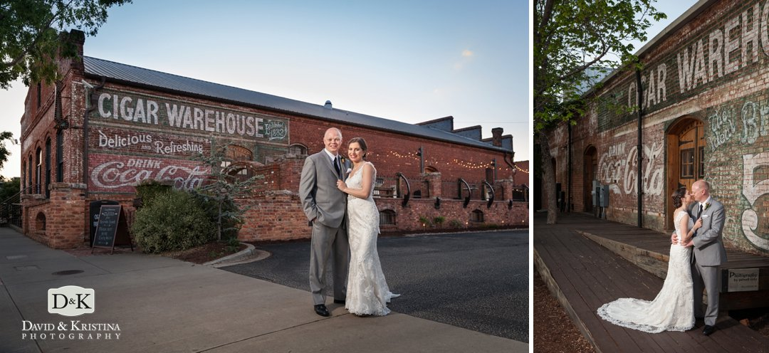 wedding photos at sunset at The Old Cigar Warehouse