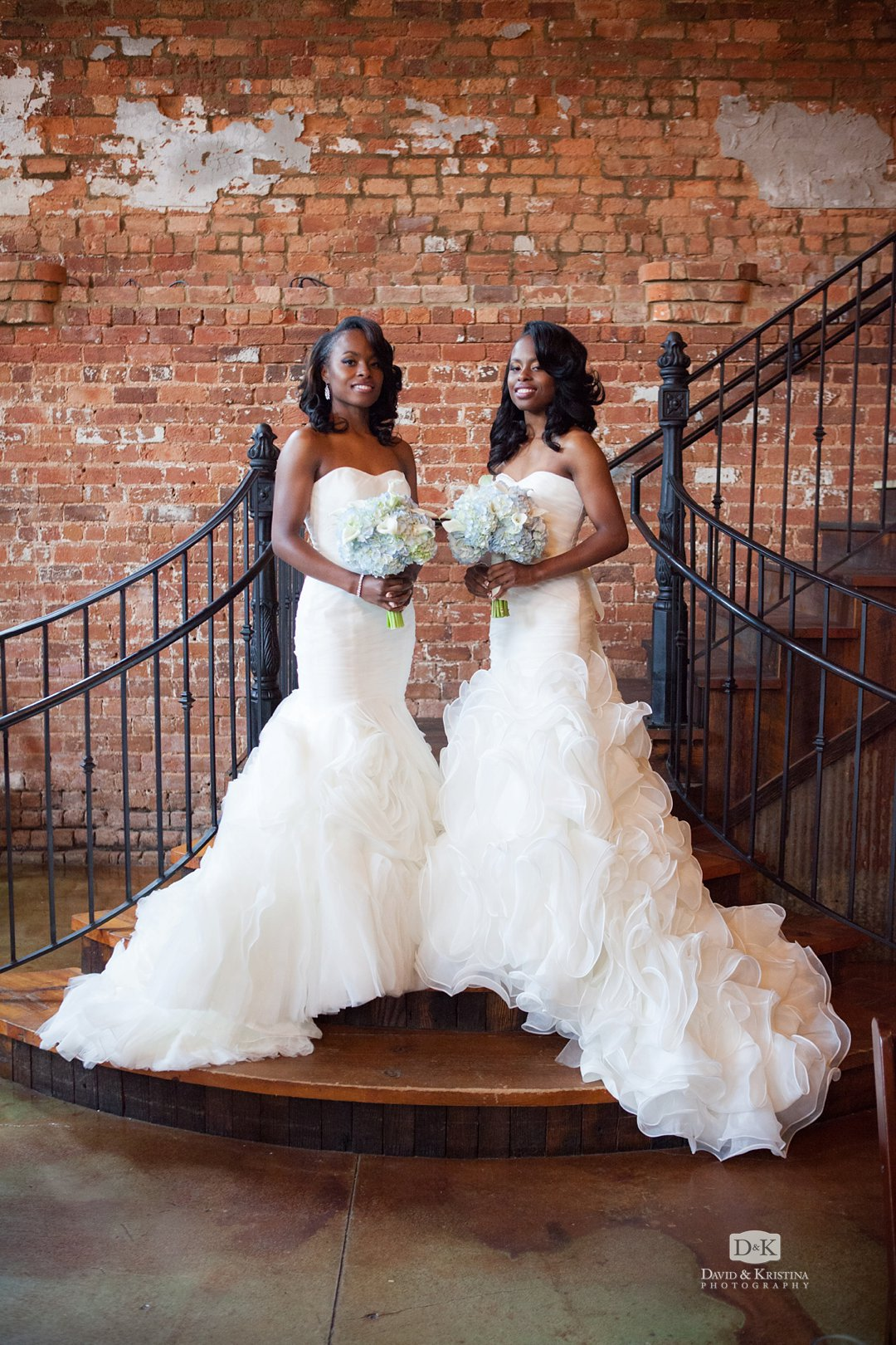 twin sisters as brides at double wedding