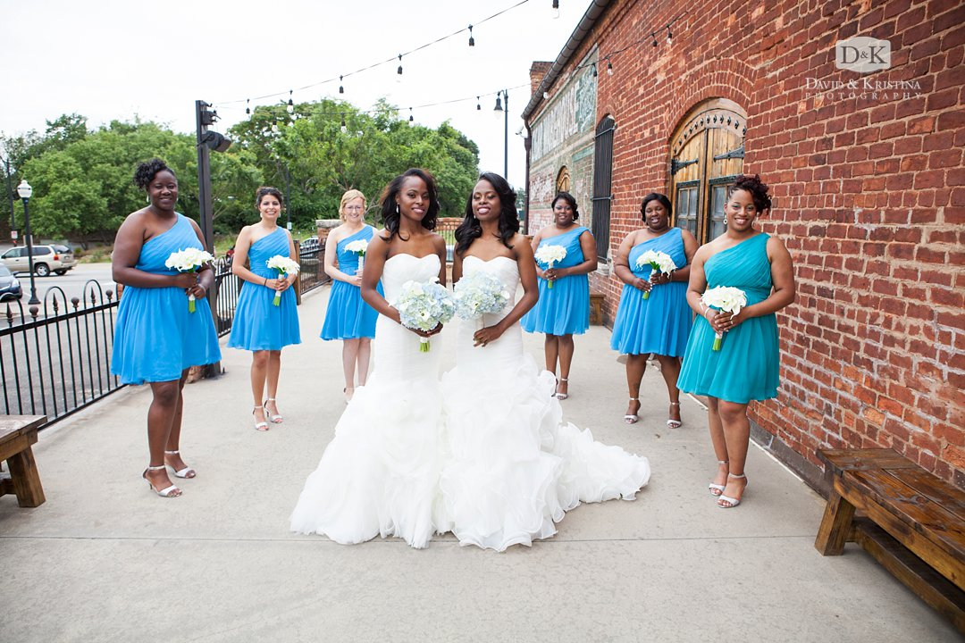twin sister brides and bridesmaids