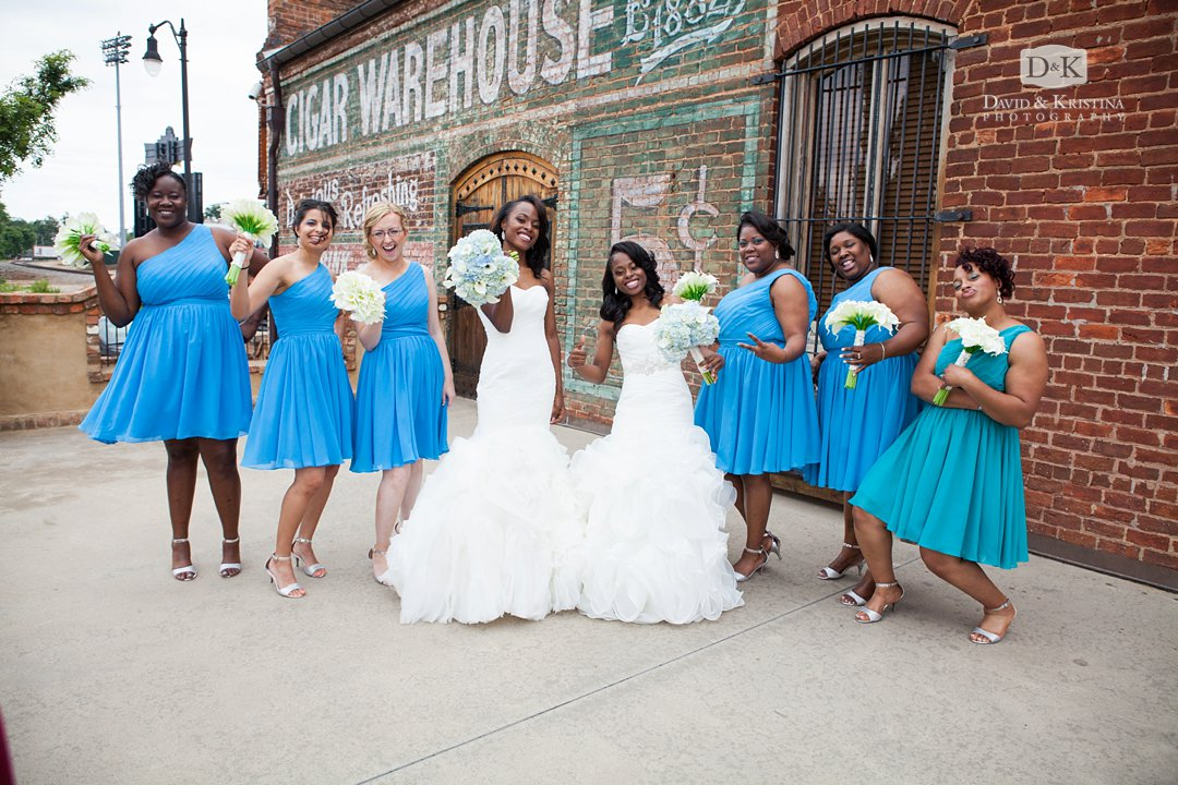 twin sisters and bridesmaids at Old Cigar Warehouse