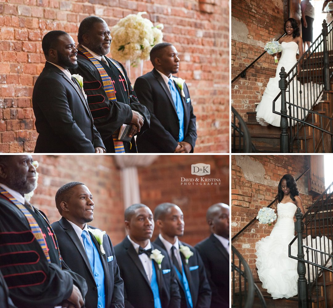 grooms watching brides walk down staircase