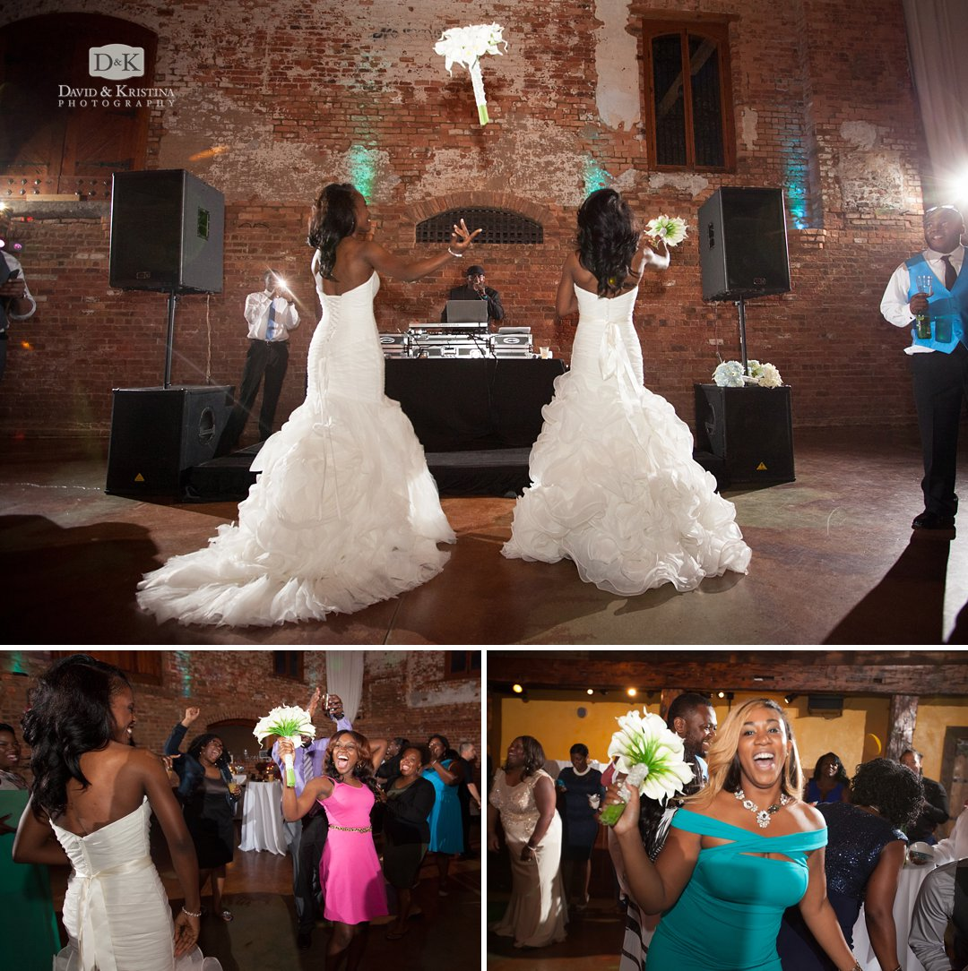twin sister brides toss bouquets