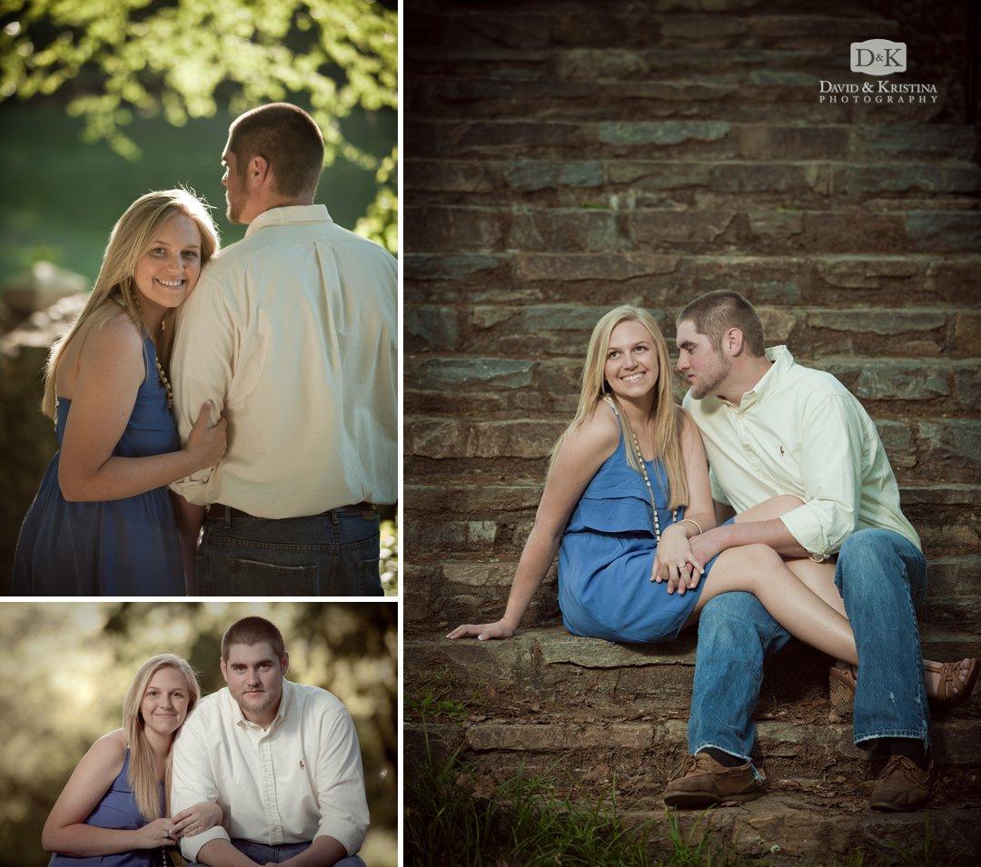 engagement photo of couple sitting on stone steps