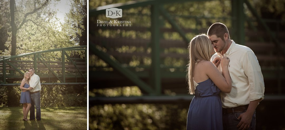green bridge in cleveland park for engagement photos