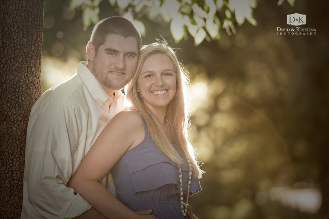 Harold and Madeline's engagement photos with golden sunlight in background