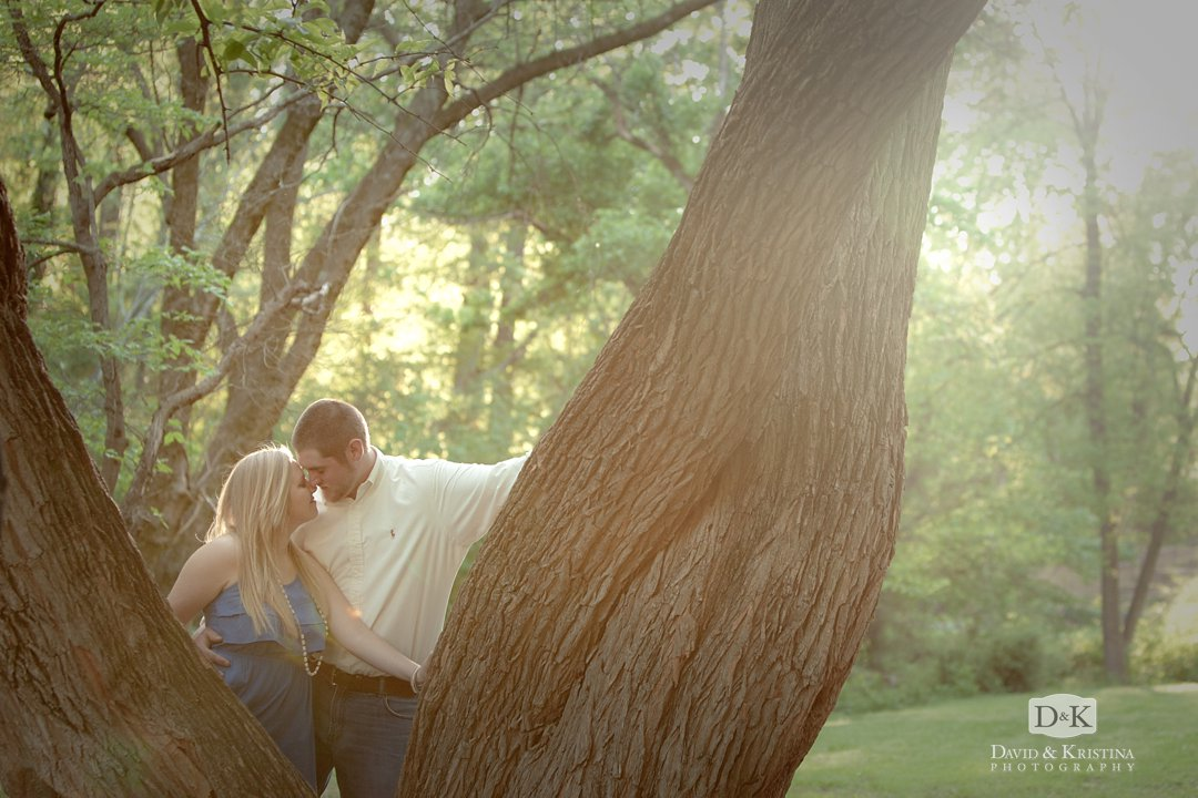 engagement photo at large oak tree in Cleveland Park Greenville
