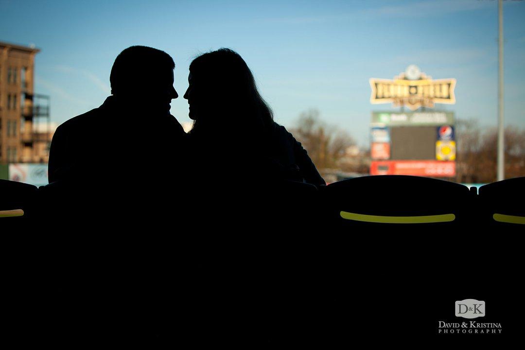 Fluor Field baseball themed engagement photo
