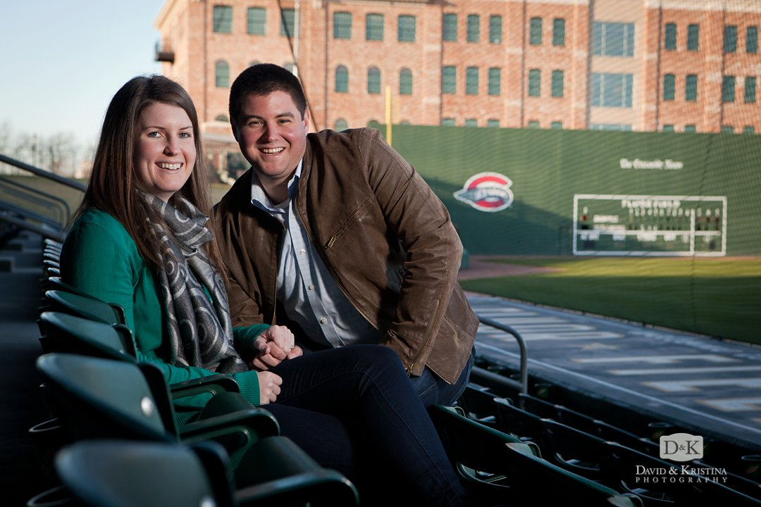 engagement photos at Greenville Drive stadium