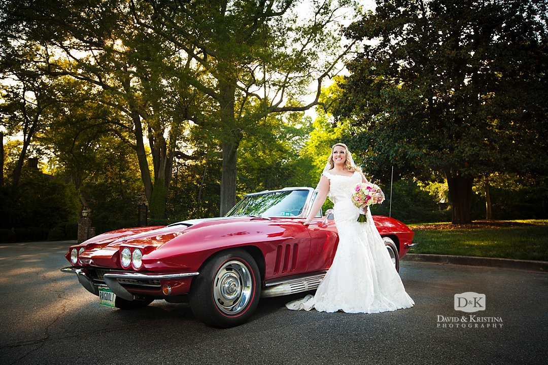 bridal portrait with red 1965 Corvette