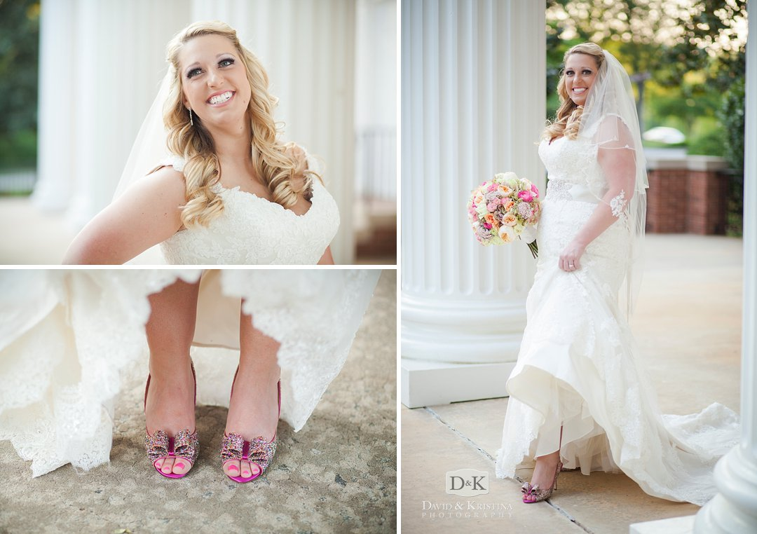 bride showing off pink shoes in wedding dress