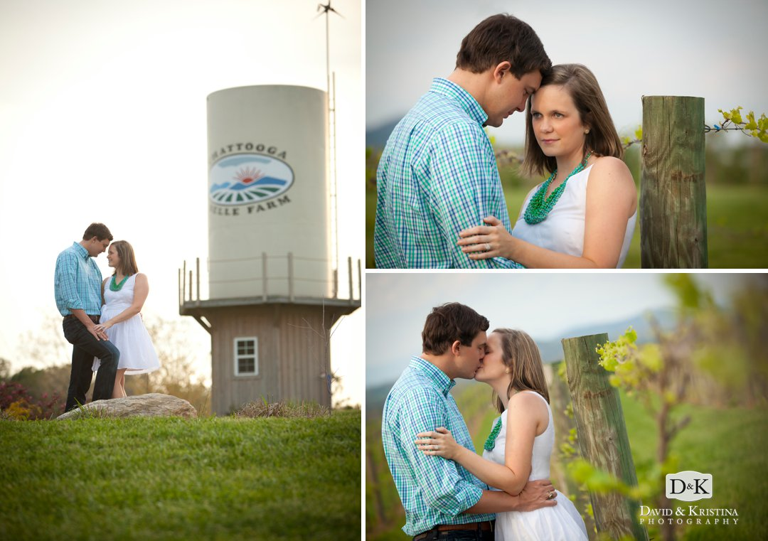 couple in front of water tower at Chattooga Belle Farm