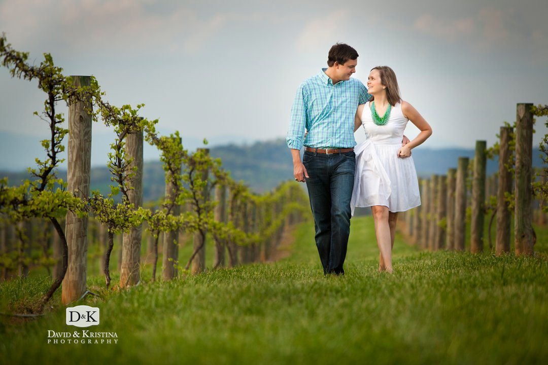 walking through vineyard at Chattooga Belle Farm