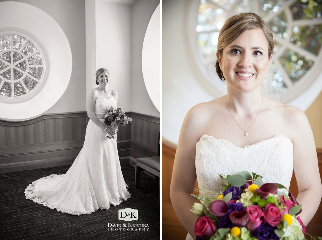 bridal portrait by round windows at Furman chapel