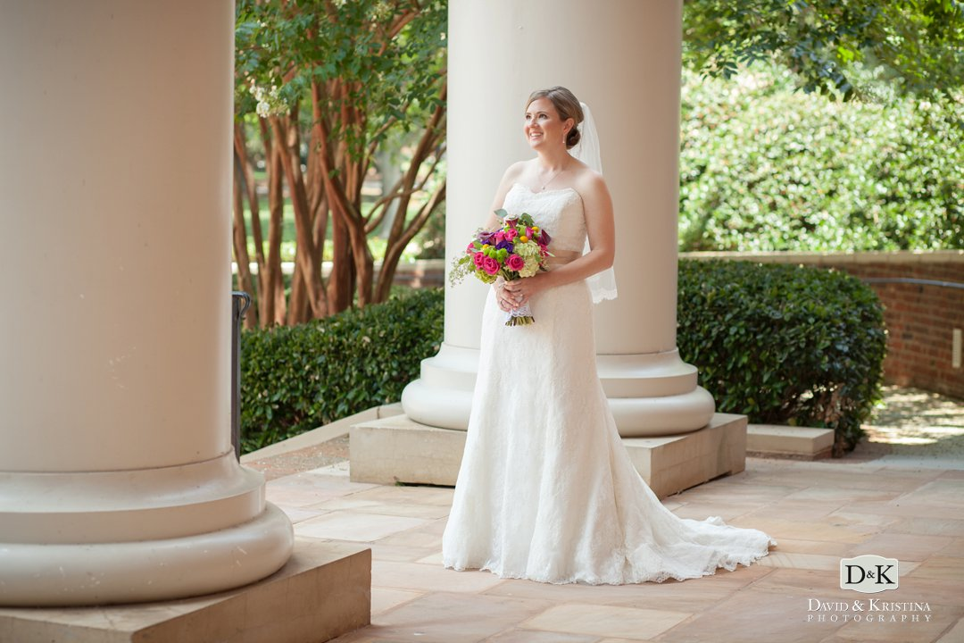 Jessica bridal portrait in front of Daniel Chapel