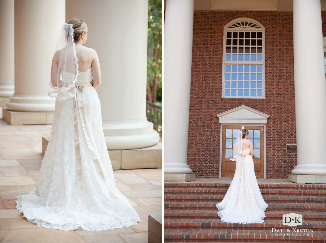 bride standing on steps of Daniel Chapel at Furman