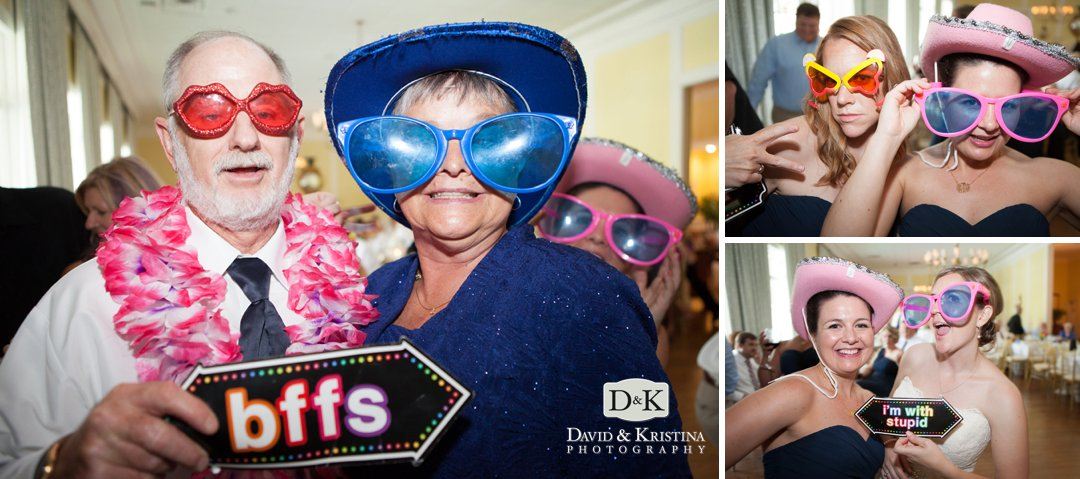guests wearing photobooth props
