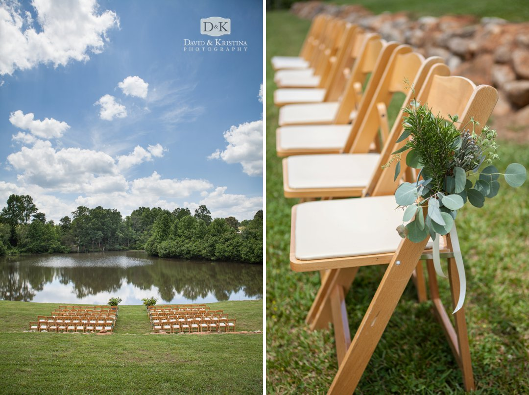 pond ceremony site for wedding at Greenbrier Farms