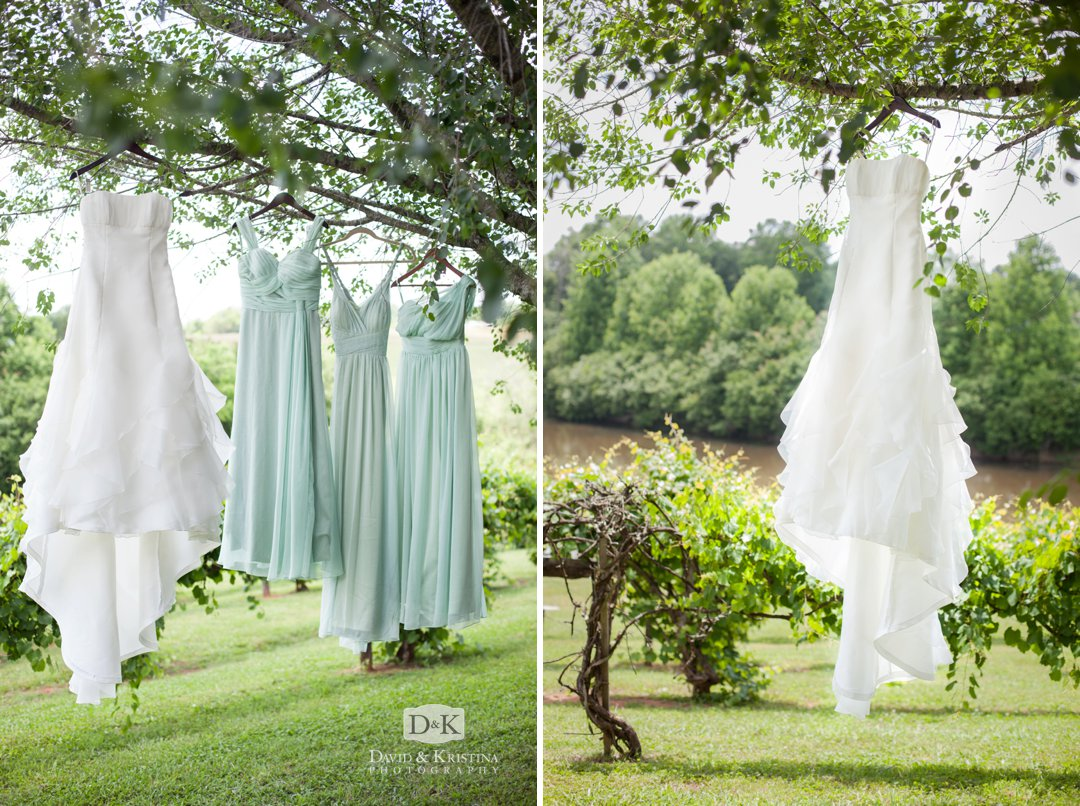 dresses hanging from tree