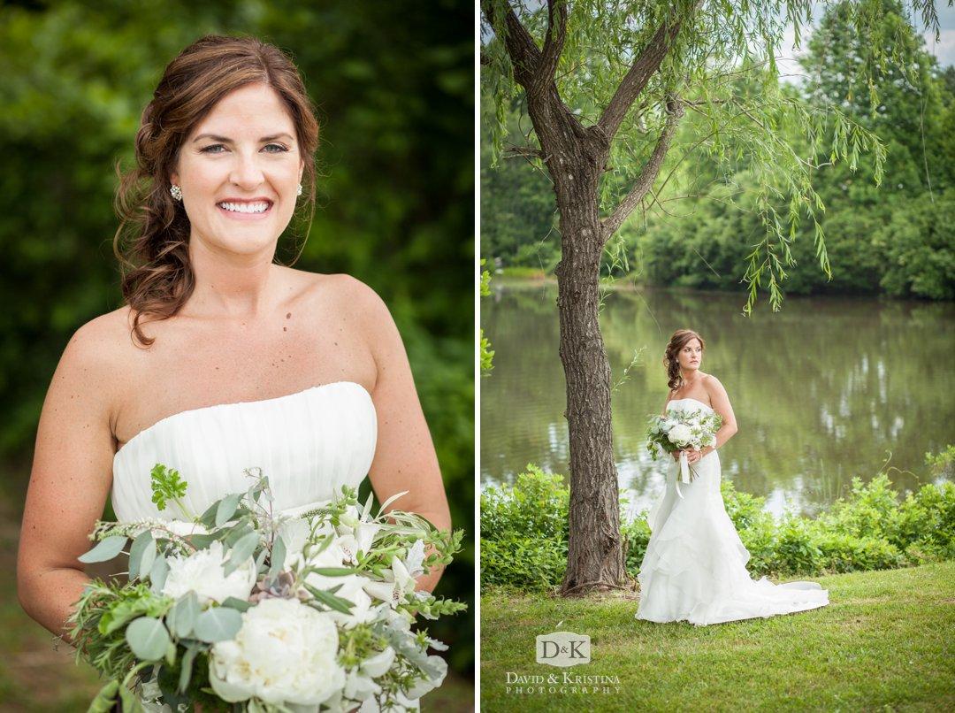 bridal portrait at Greenbrier Farms pond