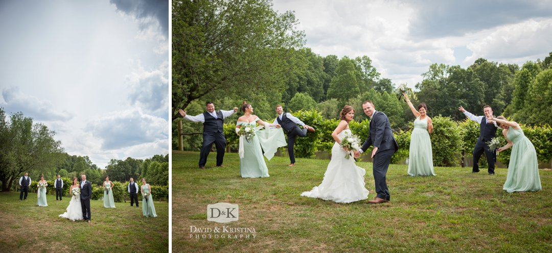 bridal party showing off dance moves
