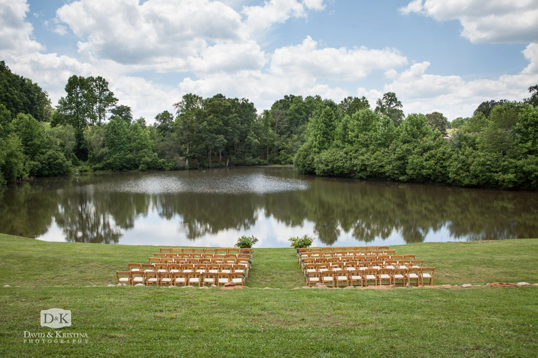 ceremony site in front of pond