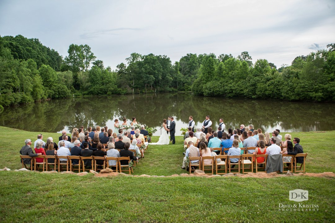 Greenbrier Farms wedding ceremony in front of pond