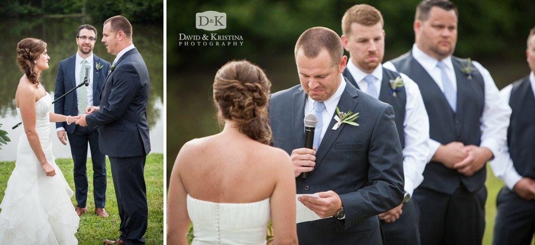 Garrett says his vows to Sara