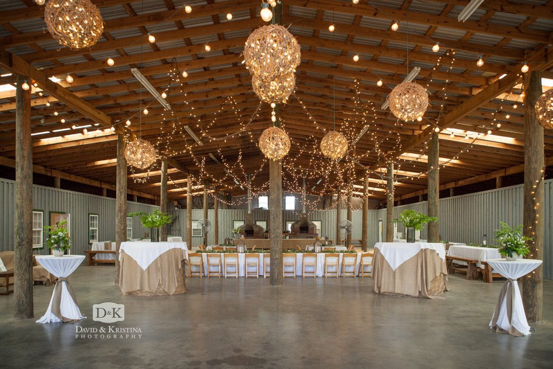barn at Greenbrier Farms decorated for wedding rececption