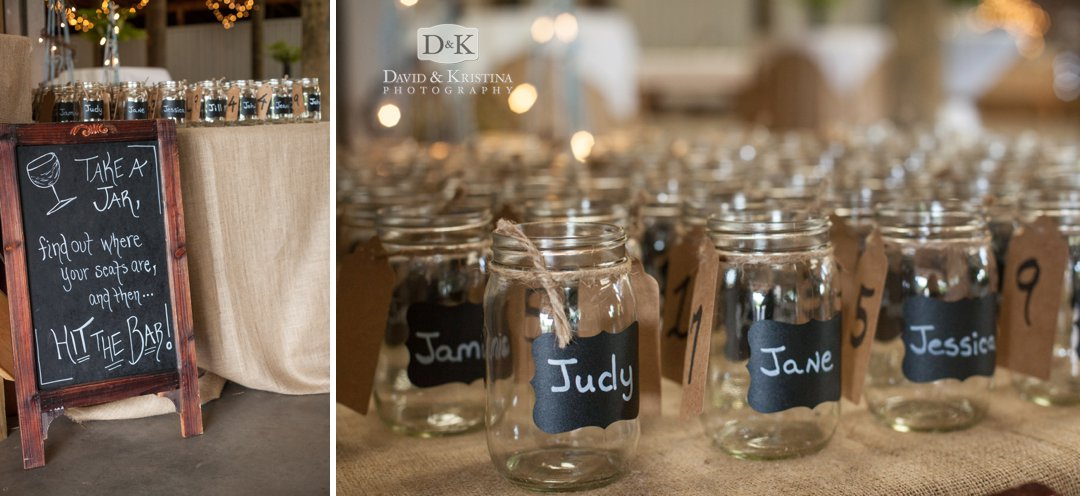 personalized mason jars for wedding guests at reception