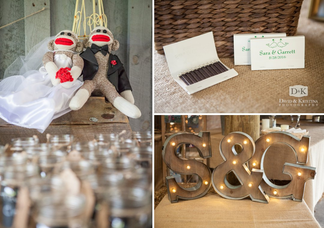 personalized match books and light letters and sock monkeys