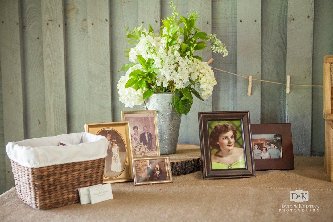old photos on display at wedding