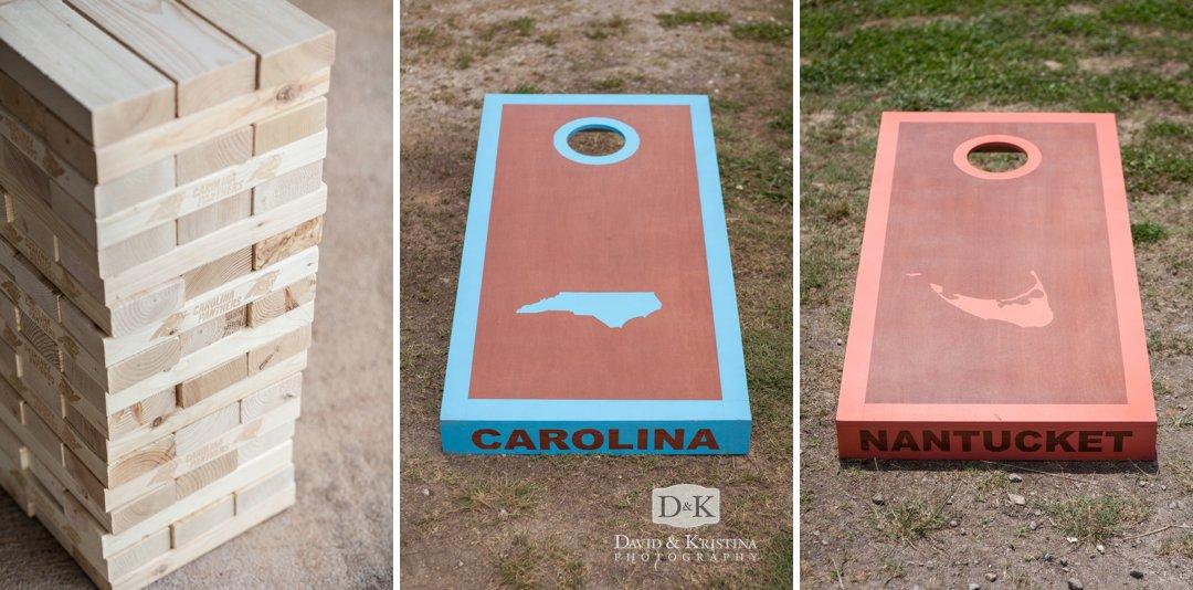 custom cornhole game and Carolina Panthers giant Jenga