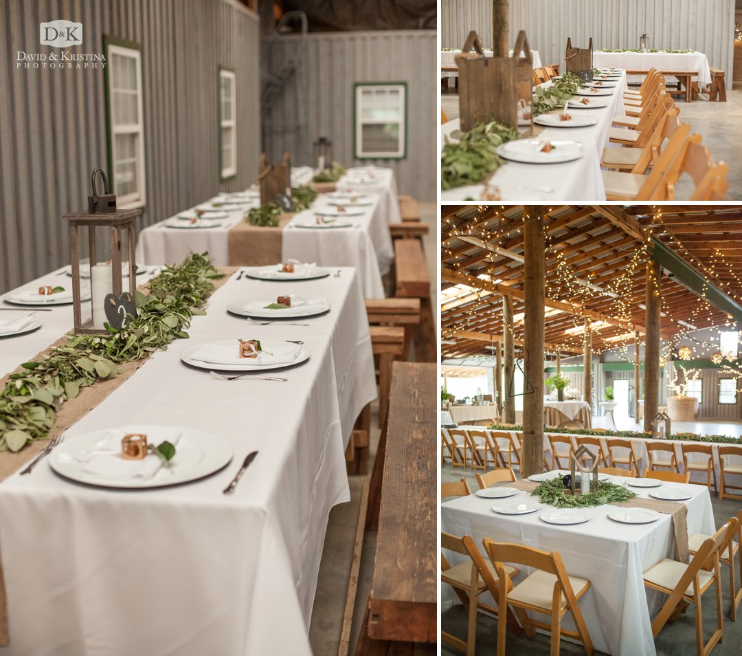 banquet tables in barn