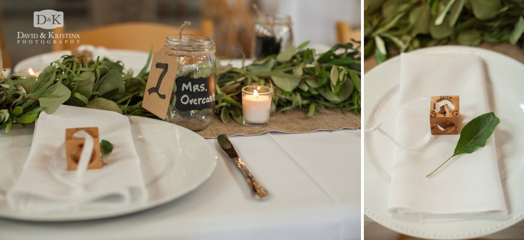 place settings with mason jars