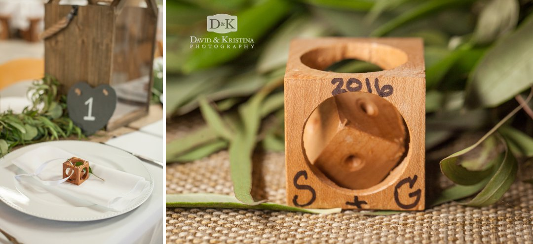 wooden ornaments as wedding guest favors