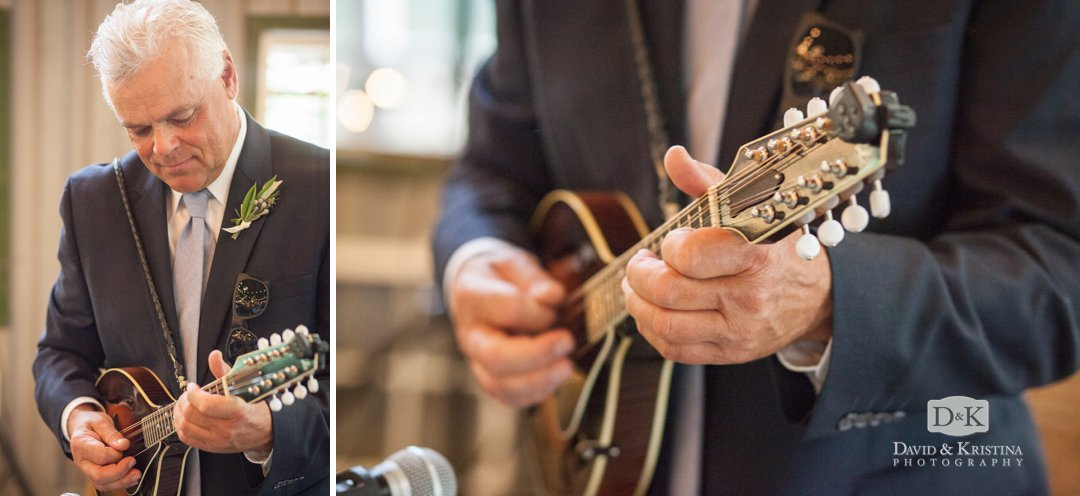 bride's dad plays mandolin during first dance
