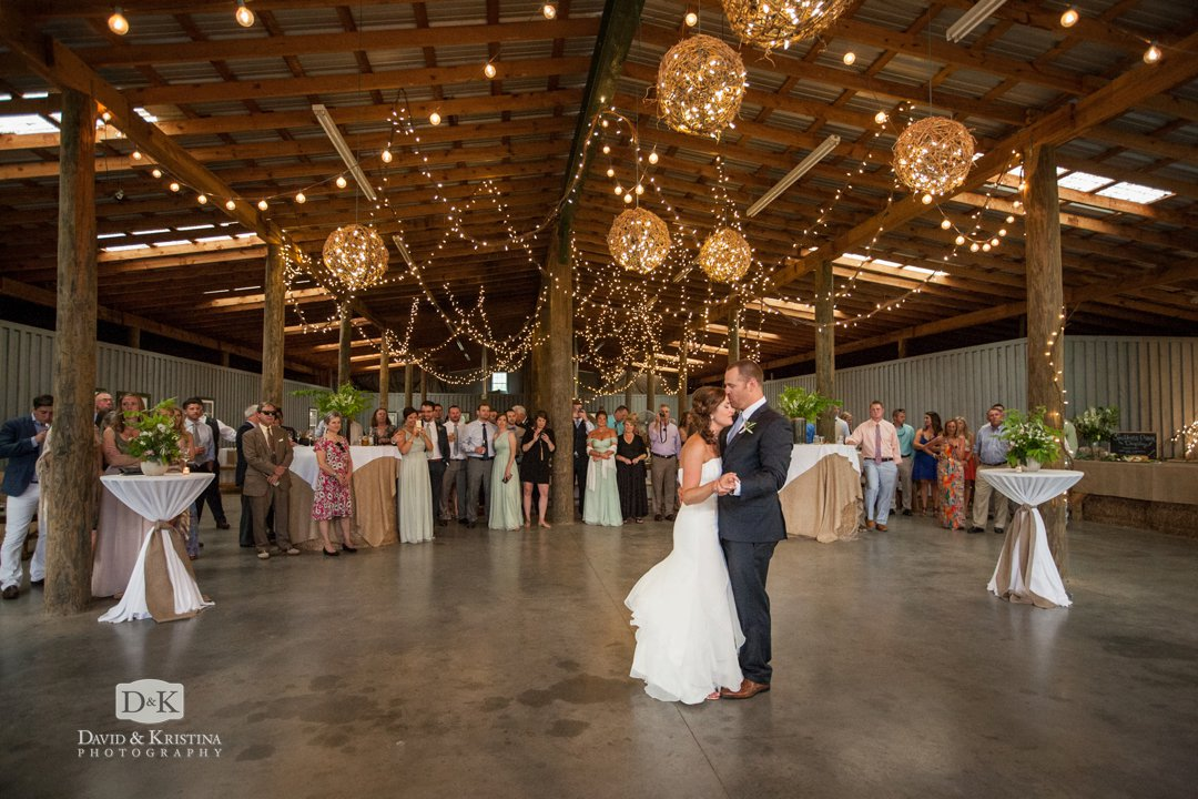 first dance in barn at Greenbrier Farms