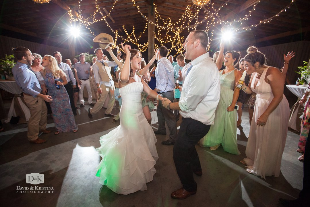 bride and groom dancing at wedding reception at Greenbrier Farms