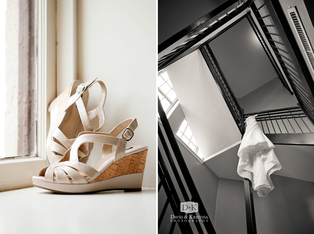 bride's dress hanging from stair well