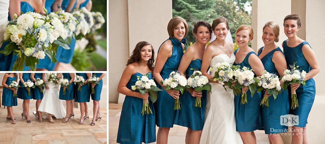 bridesmaids in teal blue dresses