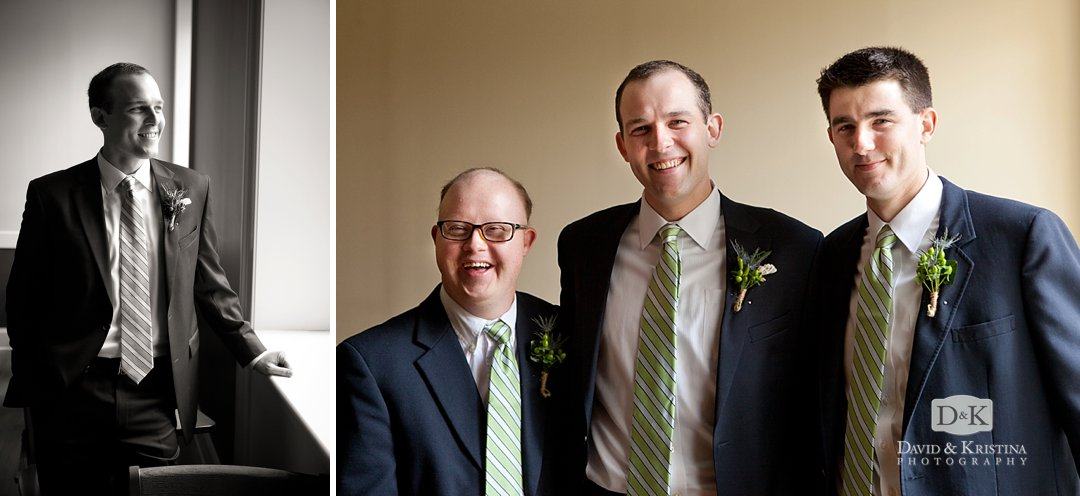green and white striped ties on groomsmen